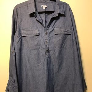 Blue tunic with half button up front